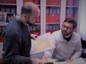 Massimo Roberto Beato e Jacopo Bezzi alla catalogazione dell'Archivio